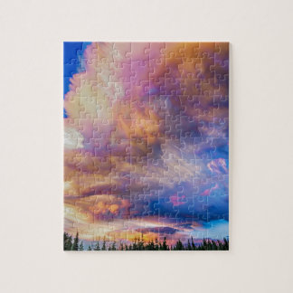 High Elevation Forest Sunset Sky Timed Stack Jigsaw Puzzle