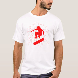 high-fi skateboarding. red bubbles & circles. T-Shirt
