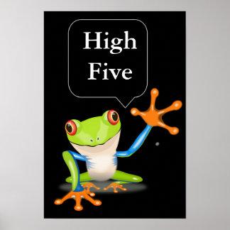 High Five Comical Frog Humorous Poster