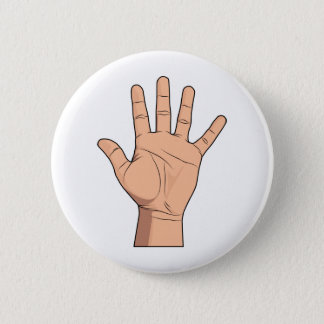 High Five Open Hand Sign Five Fingers Gesture 2 Inch Round Button