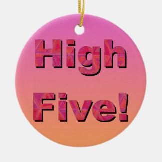 High Five! Round Ceramic Ornament