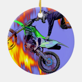 High Flying Freestyle Motocross Rider Round Ceramic Ornament