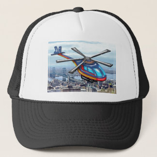 High Flying Helicopter Over Highways Trucker Hat