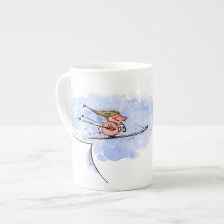 High Flying Pig - Ski Jump Pig Athlete Tea Cup