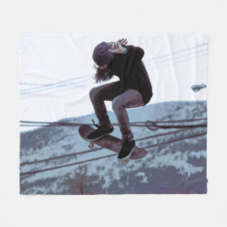 High Flying Skateboarder Fleece Blanket