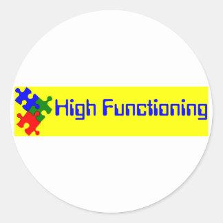 High Functioning Autistic Round Sticker