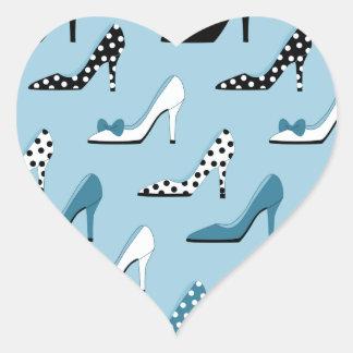 High Heel Blue Shoes Heart Sticker