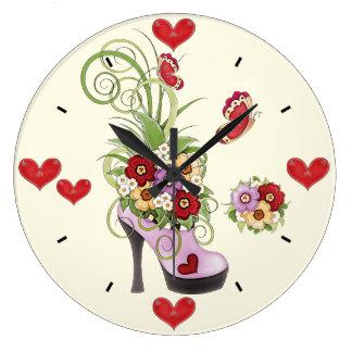 High Heel, Flowers, Hearts and Butterflies Clock