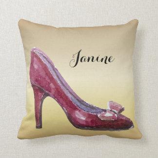 High Heel in Burgundy Watercolor Throw Pillow