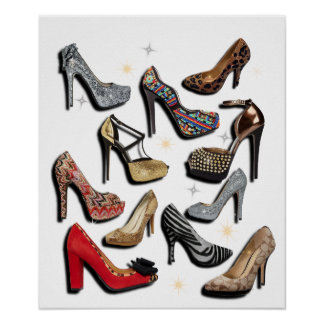 High Heel Shoe Collage Sparkle Poster
