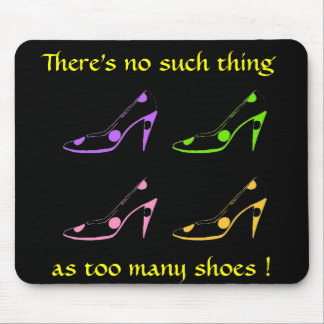 High Heel Shoe Diva- pastel on black Mouse Pad