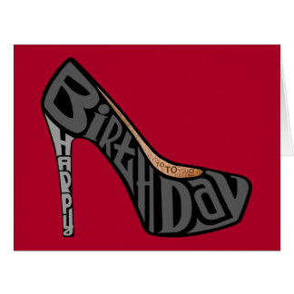 High Heel Shoe Happy Birthday Typography Card