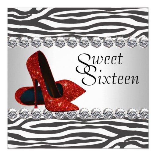 High Heel Shoe Red Zebra Birthday Party Invite