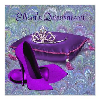 High Heel Shoes Teal Blue Purple Quinceanera Custom Invite