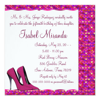 High Heels Girls 15th Party Quinceanera Card