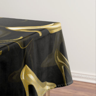 High Heels Golden Shoes pattern Tablecloth