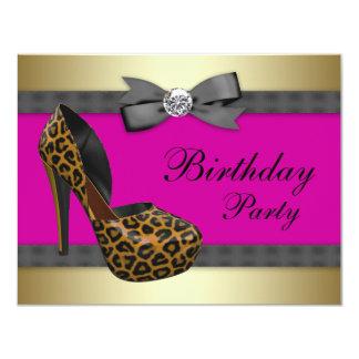 "High Heels Hot Pink Leopard Birthday 4.25"" X 5.5"" Invitation Card"