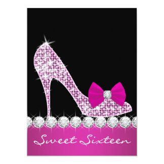 High Heels Hot Pink Sweet Sixteen Birthday Party Custom Announcement