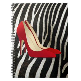 high heels red notebooks