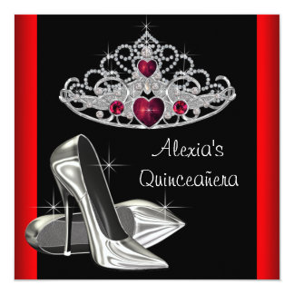 High Heels Tiara Red Black Quinceanea Card
