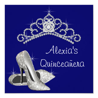 "High Heels Tiara Royal Blue Quinceanera 5.25"" Square Invitation Card"