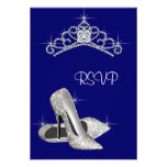 High Heels Tiara Royal Blue Quinceanera RSVP Personalized Invites