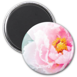 High Key Pink Peony Flower 2 Inch Round Magnet