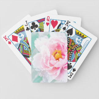 High Key Pink Peony Flower Bicycle Playing Cards