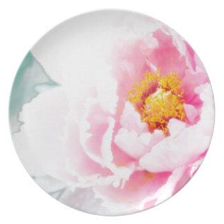 High Key Pink Peony Flower Plate