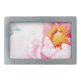 High Key Pink Peony Flower Rectangular Belt Buckle
