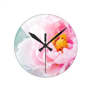 High Key Pink Peony Flower Round Clock