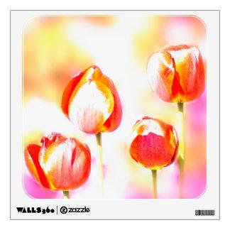 High  Key Red Tulip Quartet Wall Decal