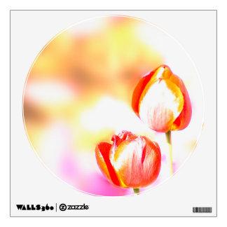 High  Key Red Tulip QuartetPair Wall Sticker