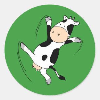 High Kicking Cow.png Round Sticker