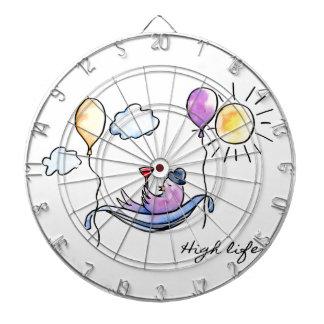 """""""High Life"""" Comic bird in hammock in sky Dartboard"""