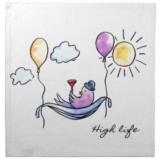 """""""High Life"""" Comic bird in hammock in sky Napkin"""