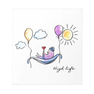 """High Life"" Comic bird in hammock in sky Notepad"