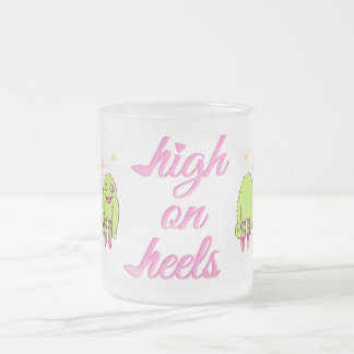 High on heels pretty monsters frosted glass coffee mug