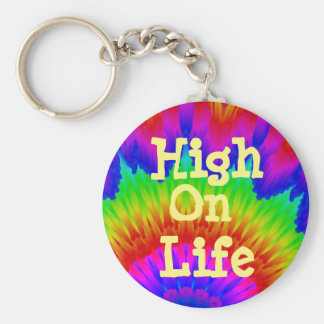High on life say no to drugs campaign tie-dy art keychain