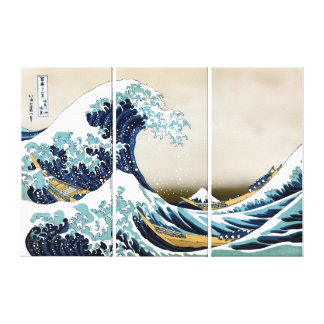 "High Quality Great Wave off Kanagawa (36"" x 24"") Canvas Print"
