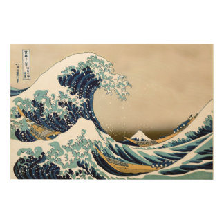 "High Quality Great Wave off Kanagawa (36"" x 24"") Wood Print"