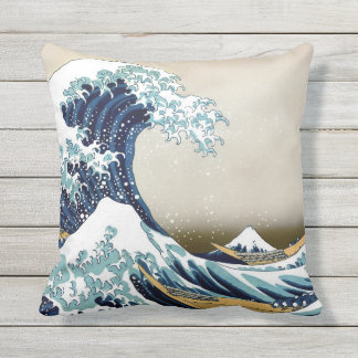 High Quality Great Wave off Kanagawa Outdoor Throw Pillow
