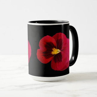 High Quality Red And Black Pansy Coffee Mugs