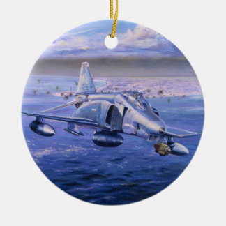 High Rollers over Kuwait by Rick Herter Round Ceramic Ornament