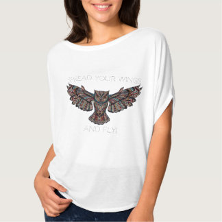 """High round-off of Bleated+Canvas for woman """"owl """" T-Shirt"""