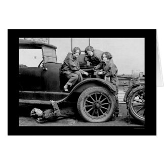 High School Girl Auto Mechanics 1927 Card