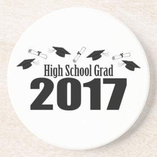 High School Grad 2017 Caps And Diplomas (Black) Coaster