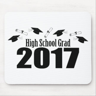 High School Grad 2017 Caps And Diplomas (Black) Mouse Pad