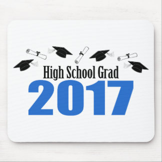 High School Grad 2017 Caps And Diplomas (Blue) Mouse Pad