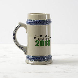 High School Grad 2018 Caps And Diplomas (Green) Beer Stein